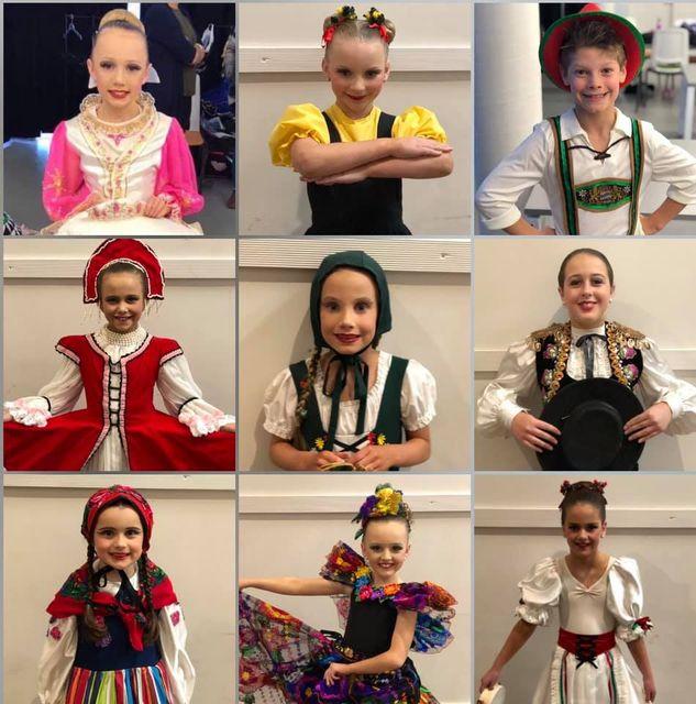 Girl dancers dressed up during musical theatre at CV Central Victoia Dance Studio Bendigo