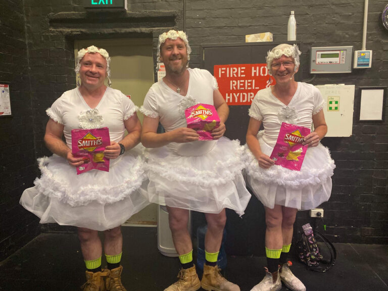Funny performance by older males dressed as Ballet dancers at a Musical theatre performance by CV Bendigo